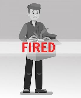Werknemer kreeg ontslagen cartoon vectorillustratie