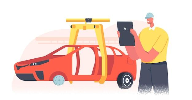 Werknemer mannelijk karakter beheren proces van geautomatiseerde autoproductie. voertuigonderdelen op machinelijn met robothand