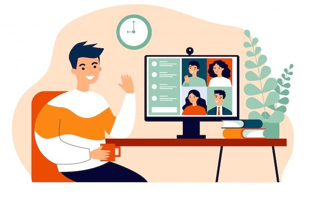 Werknemer met behulp van computer