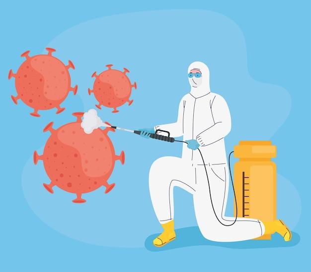 Werknemer met biohazard pak desinfecteren en deeltjes illustratie