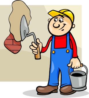 Werknemer met troffel cartoon afbeelding