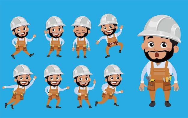 Werknemer met verschillende poses vector.