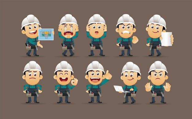 Werknemer met verschillende poses vector