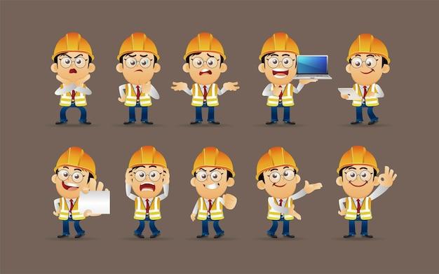 Werknemer met verschillende poses vectorbeelden