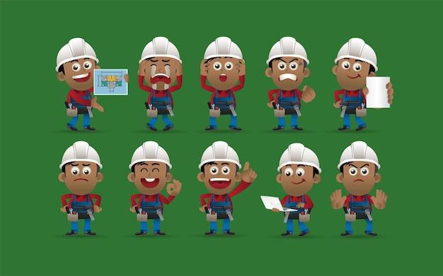 Werknemer met verschillende poses vectorbeelden Premium Vector