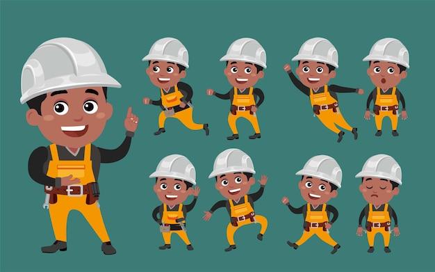 Werknemer met verschillende poses
