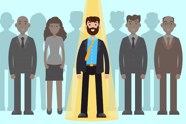 Werknemer naar keuze. bedrijfswervingsproces, groepsbeheer van werknemers.