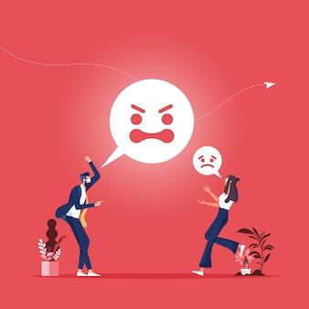 Werknemer persoon agressie of schreeuwen man en vrouw paar ruzie emoties