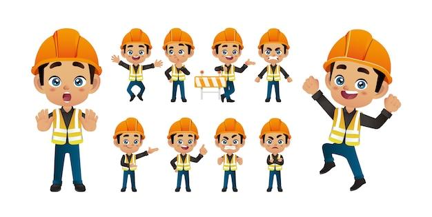 Werknemer set. verschillende poses en gebaren