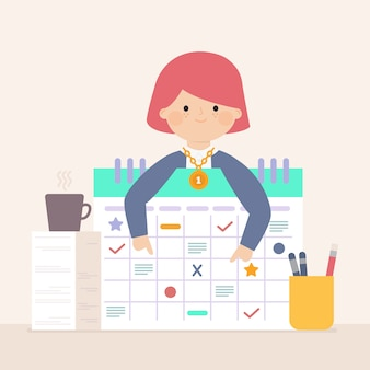 Werknemer van de maand concept met grafieken