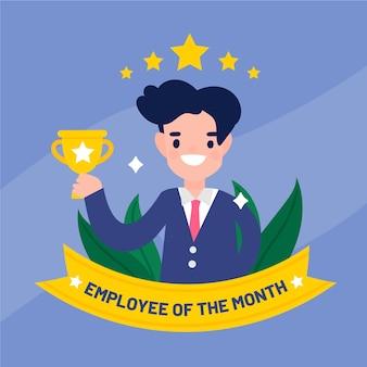 Werknemer van de maand concept met trofee