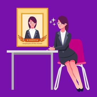 Werknemer van de maand illustratie stijl
