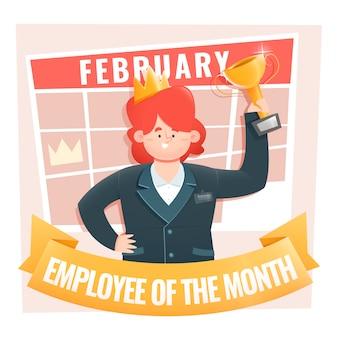 Werknemer van de maand vrouw met kroon