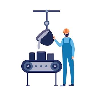 Werknemer van gieterij fabriek giet gesmolten metaal illustratie