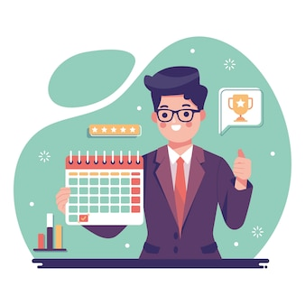 Werknemer van het geïllustreerde maandconcept