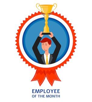 Werknemer van het maandembleem of teken met zakenman die gouden trofeekop in handen opheft. prijs voor succesillustratie op witte achtergrond.