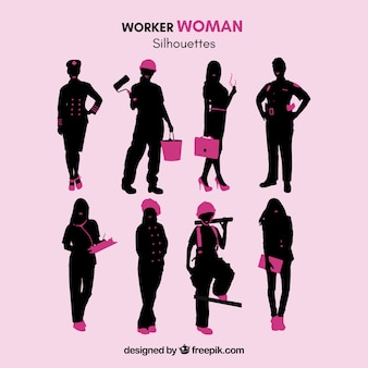 Werknemer vrouw silhouetten
