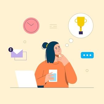 Werknemer werkzaam in kantoor, na te denken over succes