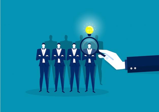 Werknemer zoeken naar hr in het bedrijfsleven en een andere zoekopdracht. positief denken vector illustrator.