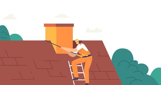 Werknemerkarakter op met klimuitrusting voer dakwerken uit, repareer huis, dak van dakpannen, dakdekker man met uitrustingsstukken renovatie van een woongebouw of huisje