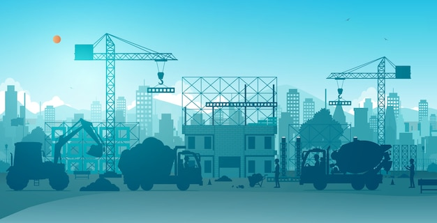 Werknemers bouwen huizen met kranen op bouwplaatsen.