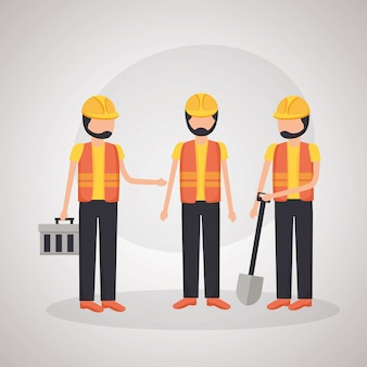 Werknemers bouwmachines