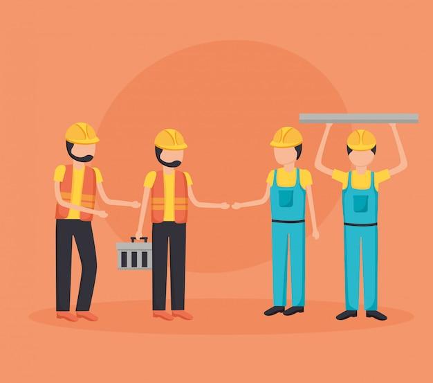 Werknemers bouwmachines Gratis Vector