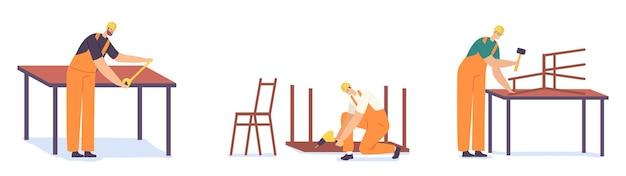 Werknemers carpenter characters met instrumenten die in de werkplaats werken. schrijnwerkers maken timmerwerk houtwerk boor houten tafel, hamer stoel met timmerwerk apparatuur, gereedschap. cartoon mensen vectorillustratie