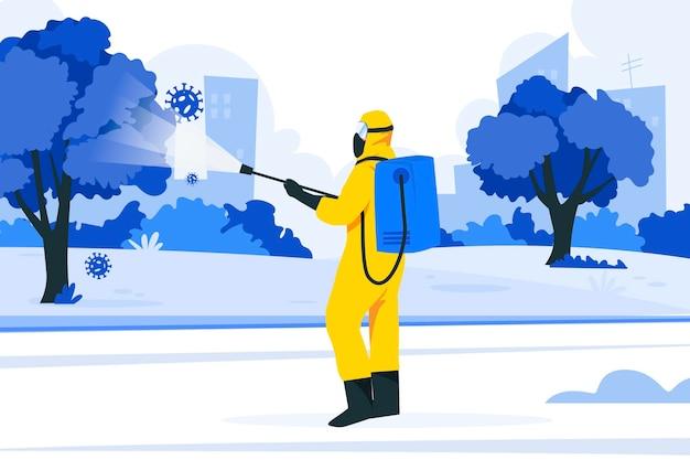 Werknemers die desinfectiediensten leveren in openbare ruimtes
