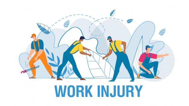 Werknemers die lijden aan pijn medische vlakke afbeelding