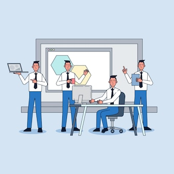 Werknemers die op kantoor werken Gratis Vector