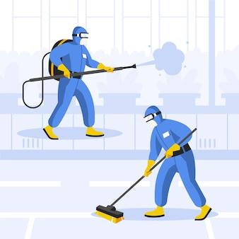 Werknemers die schoonmaak service concept