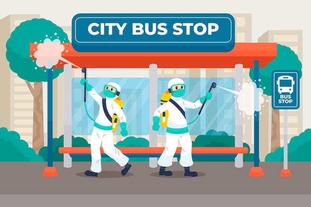 Werknemers die schoonmaakdienst verlenen in openbare ruimtes