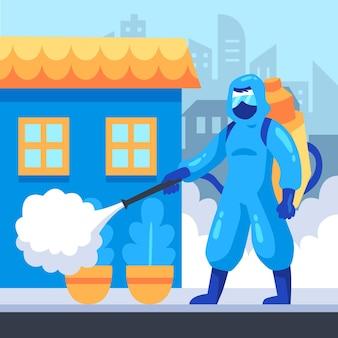 Werknemers die schoonmaakdienst verlenen