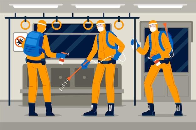 Werknemers die schoonmaakdiensten in openbare ruimtes aanbieden, worden geïllustreerd