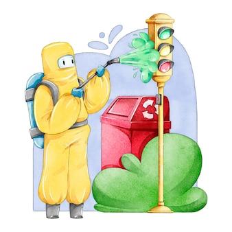 Werknemers die schoonmaakdiensten verlenen in openbare ruimtes buiten