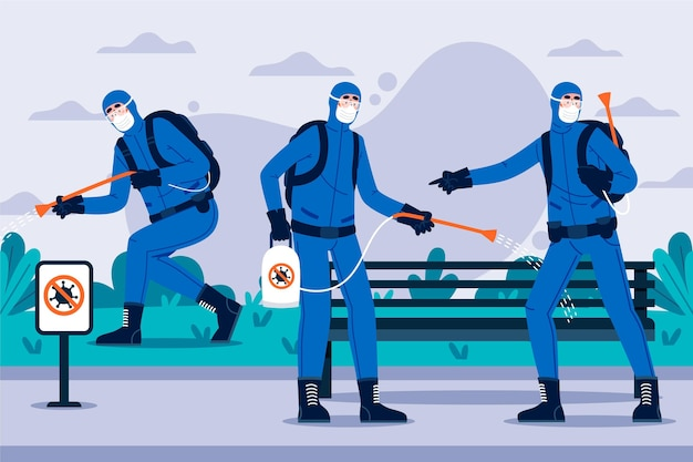 Werknemers die schoonmaakdiensten verlenen in openbare ruimtes