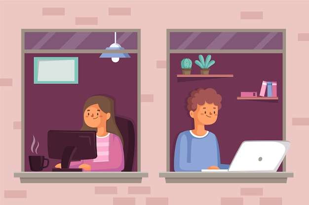 Werknemers die thuis werken