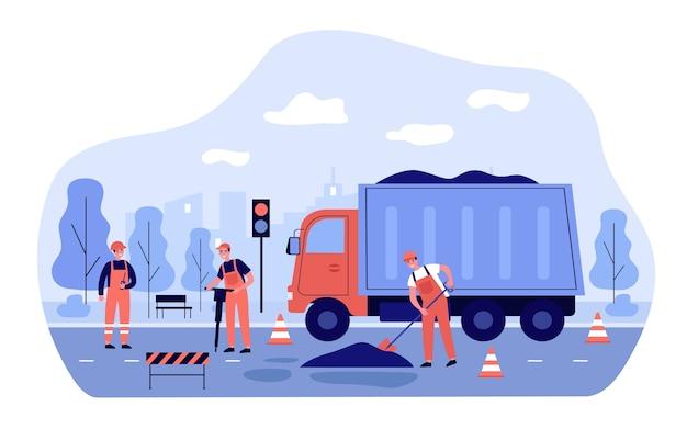 Werknemers die weg herstellen. mannen in overall die asfalt uit een vrachtwagen strooien. illustratie voor stadsdienst, blauwe kragen, transportconcept