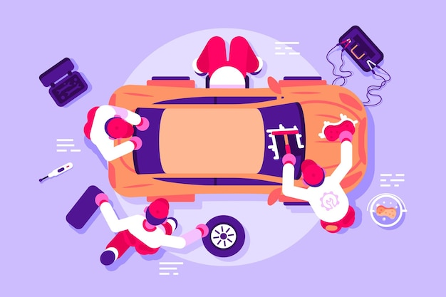 Werknemers in auto service voertuig controleren