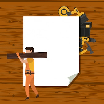 Werknemers in de bouw en hulpmiddelen
