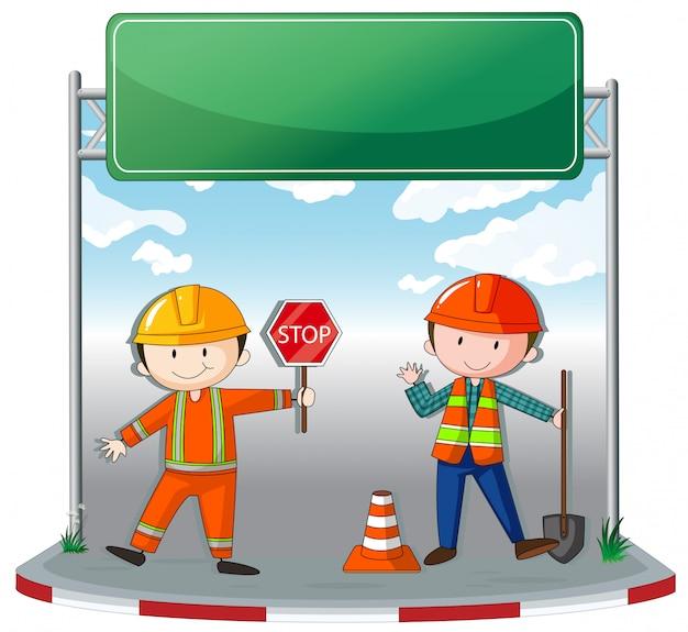 Werknemers in de bouw op de site