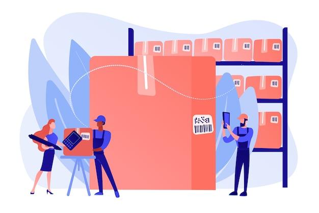 Werknemers in magazijn, opslagfaciliteit. artikelen sorteren en labelen. barcodescanning, software voor het genereren van streepjescodes, mobiel proof of delivery-concept. roze koraal bluevector geïsoleerde illustratie