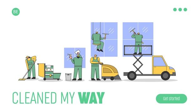 Werknemers in uniform maken kamers en ramen schoon