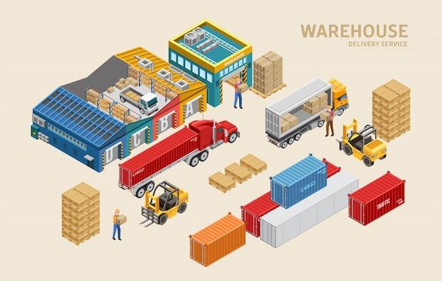 Werknemers laden vrachtwagens in de buurt van containers