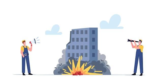 Werknemers mannelijke personages in uniform met luidspreker en kijker kijken op tnt explosie gecontroleerde sloop van gebouwen