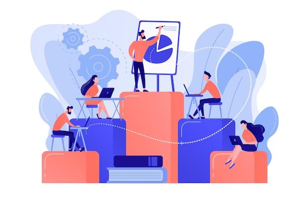 Werknemers met laptops leren op professionele training