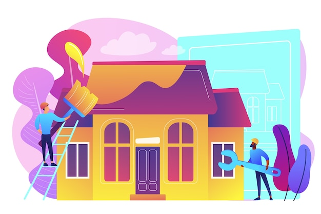 Werknemers met penseel en moersleutel die het huis verbeteren. huisrenovatie, renovatie van onroerend goed, verbouwing van huizen en onconstructiediensten. heldere levendige violet geïsoleerde illustratie