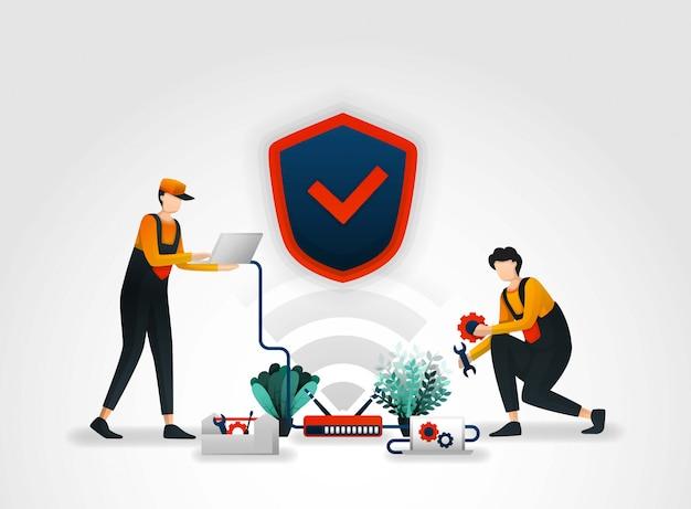 Werknemers onderhouden het beveiligingssysteem van de router