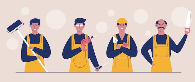 Werknemers op de bouwplaats gekleed in beschermende vesten en helmen